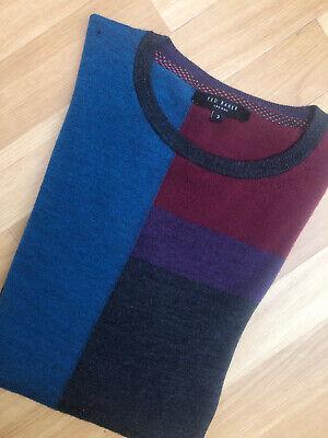 Mens Ted Baker Sweater Size 3 Medium Pure Merino Wool Grey Blue Pullover Jumper