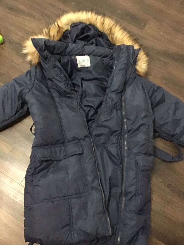Modern Eternity 3-in-1 Belted Navy Blue Maternity Puffer Coat Small Baby Weaeinf