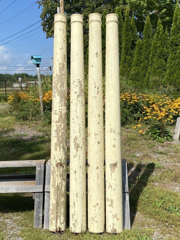 "4 Antique C.1910 Wood Columns, Hollow, 92""H ~ Salvaged Portland, ME"