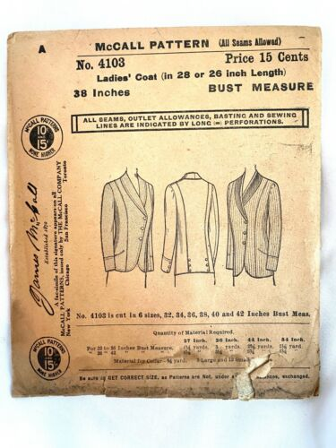 1900s Antique McCall No. 4103 Sewing Pattern Ladies