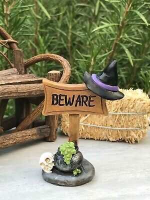 Miniature Dollhouse FAIRY GARDEN ~ Mini HALLOWEEN Beware Sign with Witch Hat