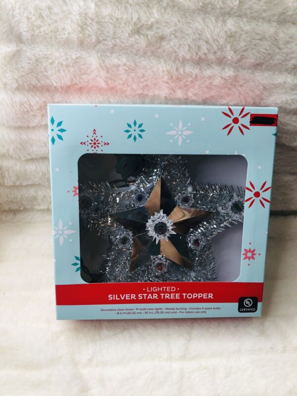 New Silver Sparkle Star Tree Topper NEW  FREE SHIPPING