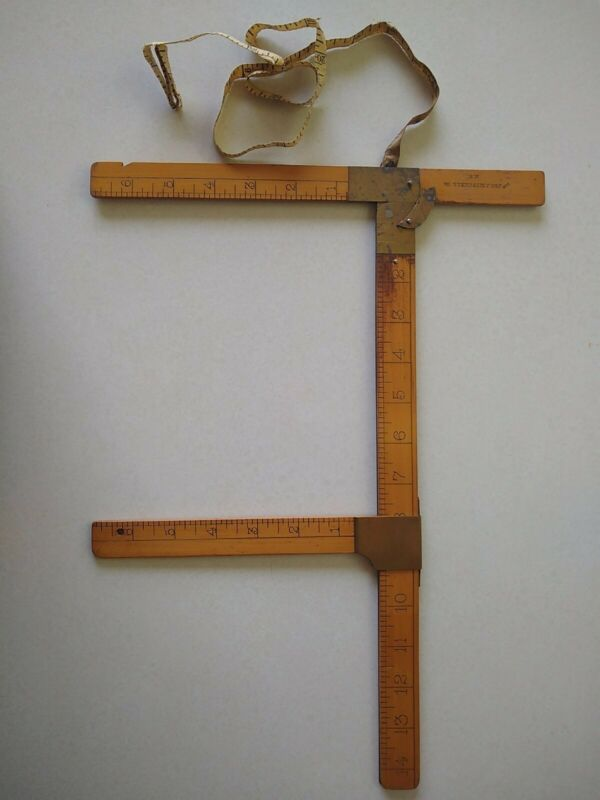 RARE Antique Tailors Rule, Measuring Tool, Garment Industry, JNO J Mitchell (1)