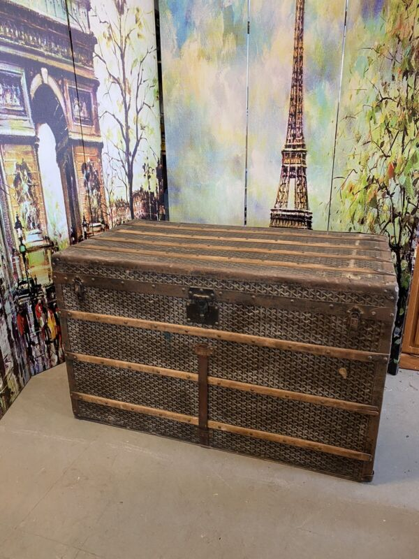 King Size  Antique Chevron Goyard trunk Very Cool  3.5+ Ft  x 2 Ft  x 2,2Ft