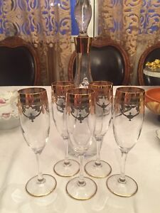 Antique French engraved decanter set
