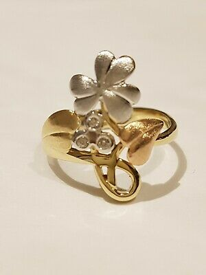 Beautiful Leaf Design 14ct Tri Colour Gold & Diamond  Ring.