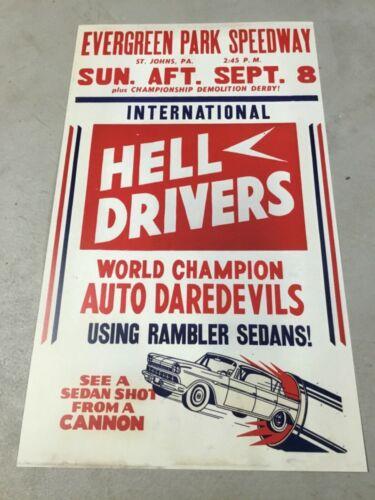 Evergreen Raceway Hazleton Pa. Hell Drivers Stock Car Track Ramber Sedan  Sign