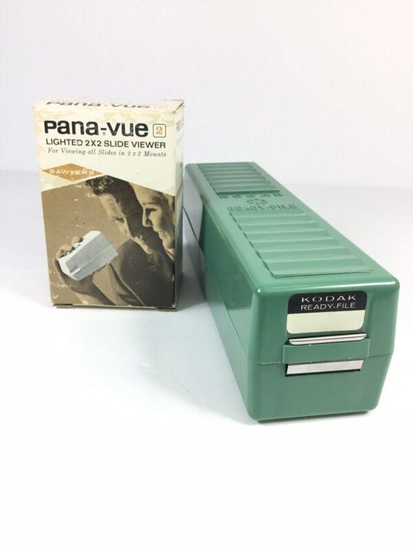 Vintage SAWYERS PANA-VUE  2x2 SLIDE VIEWER 6578 W/ 86 Slides & Kodak Ready File