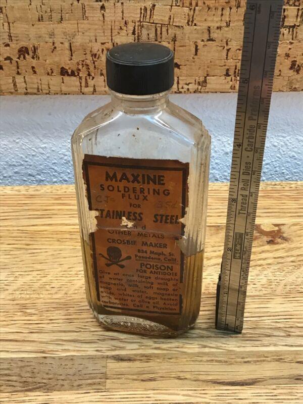Vintage Maxine Soldering Fluid Poison Warning Label Bottle Nn2