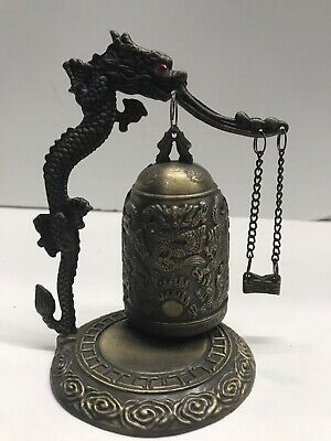 "Chinese Lucky Feng Shui Guanyin Hanging Bell Gold Brass Metal 12/""L New"