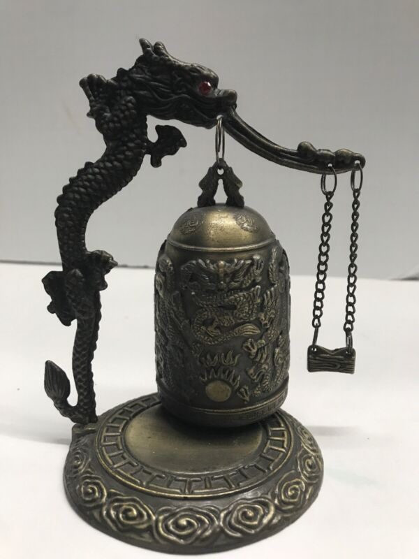 "Vintage Chinese Brass Dragon Dinner Bell Gong High Detail 6"" Tall"