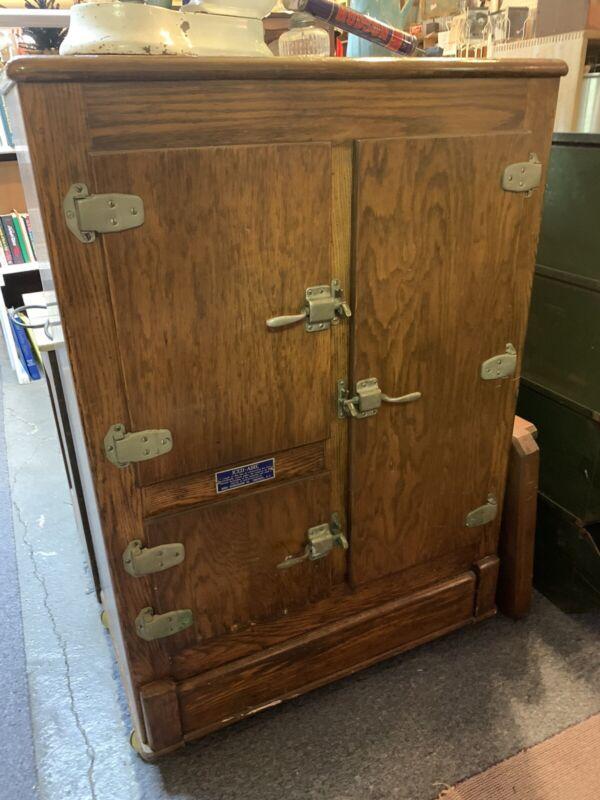 Antique Oak Ice Box McKee Iced-Aire Cobleskill NY