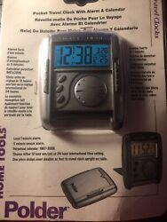NEW Polder Home & Travel Pocket Travel Clock w/ Alarm & Calendar Folding Cover