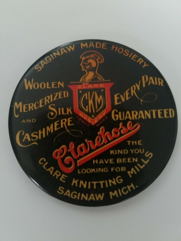 VINTAGE CELLULOID ADVERTISING POCKET MIRROR CLAREHOSE KNITTING MILLS SAGINAW
