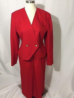 Pendleton Red Wool Vintage Skirt Suit Blazer Jacket 12 Beautiful
