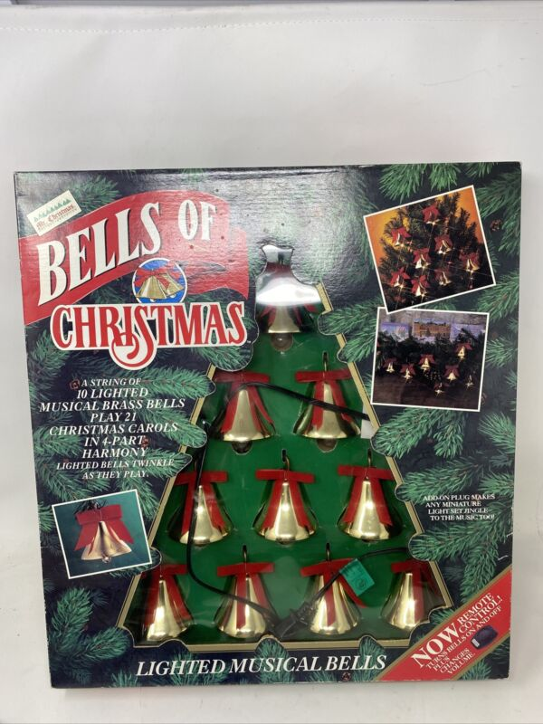 WORKING 1992 MR. CHRISTMAS BELLS OF CHRISTMAS 10 BELLS & PLAYS 21 SONGS in BOX
