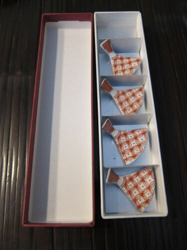 Boxed set of 4 porcelain ceramic chopstick rests fans Japanese or Chinese new