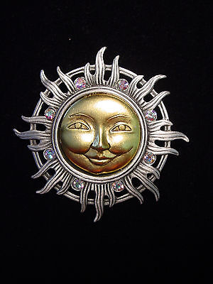 Jj  Jonette Jewelry Silver Pewter Gold Faced Sun W Jeweled Rays Pin