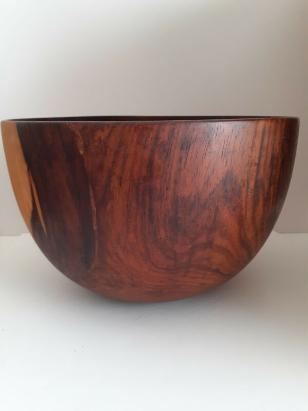 Large Vintage Hawaii Wood Rounded Bowl Calabash w. Long Stable Crack  AS IS