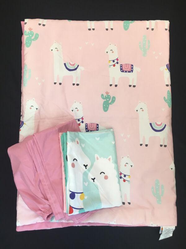 Everything Kids Pink & Mint Llama 4 Piece Comforter Toddler Bed Sheet Set