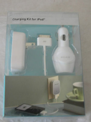 NIB Belkin iPod Charging Power Kit For Wall Outlet and Car Sealed