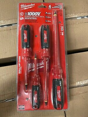 New In Pack 4 Pc Milwaukee 48-22-2205 1000v Insulated Screwdriver Set