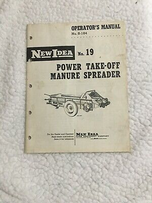 Original New Idea No. 19 Manure Spreader S-184 Operators Manual 1956