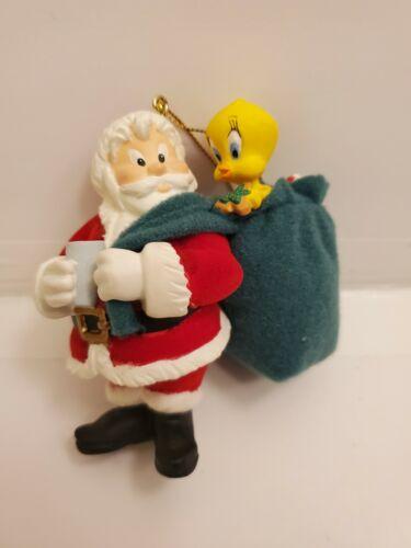 1999 Warner Brothers Looney Tunes Christmas Ornament Tweety Santa Ride