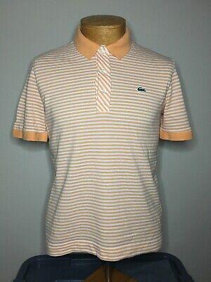 Lacoste Orange Striped Short Sleeve Polo Shirt - Men's Size 4 Small S
