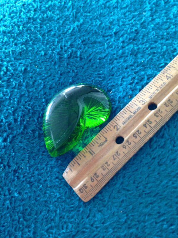 """Art Glass Green Shell Motif 2.5"""""""