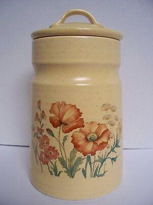 Vintage Wild Flowers Jug Cookie Jar Crock by Treasure Craft Gold/Mustard Color