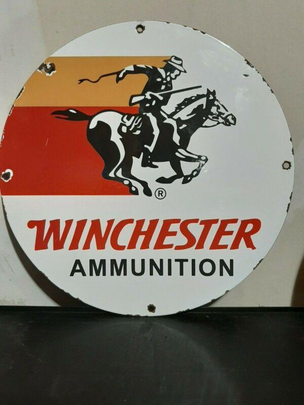 """winchester vintage porcelain sign 12"""""""