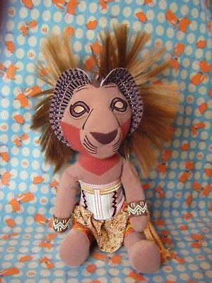 """DISNEY The Lion King Broadway Musical Simba bean bag soft toy 11"""" sitting approx"""
