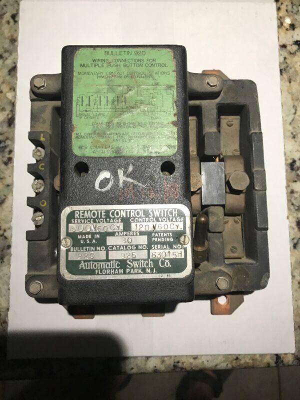 ASCO 920 Remote Control Switch Contactor 925 3 Pole 30 Amp 600V 600CY