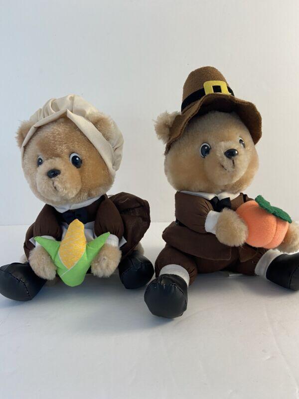 "John And Priscilla Alden Plush Bears Pair Russ Berrie Vintage 7"""