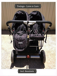 Love N Care TwinGo Stroller 2 NEW Bassinets with covers etc