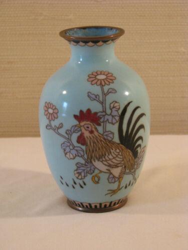 Antique Japanese Cloisonne Vase - Rooster