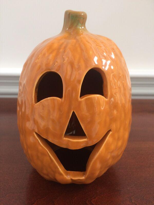 "Vintage Ceramic Pumpkin Candle Holder Jack-O-Lantern Fall Halloween Decor 7 1/2"""