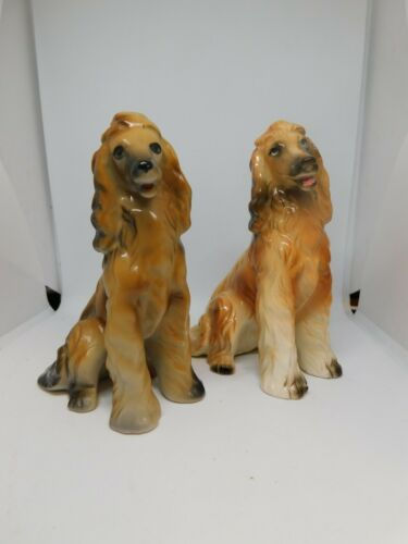 2 Vintage Ceramic/China Afghan Hound Dog Figurines 5 in tall