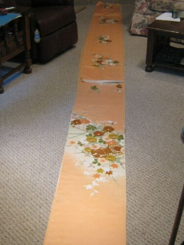 JAPANESE PEACH SILK KIMONO FABRIC BOLT 13.6 Yards Gold Trimmed Flowers SIGNED