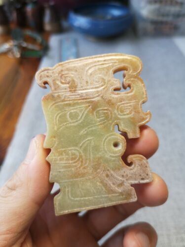 Chinese Jade mask amulet Human face vein Jade mask pendant