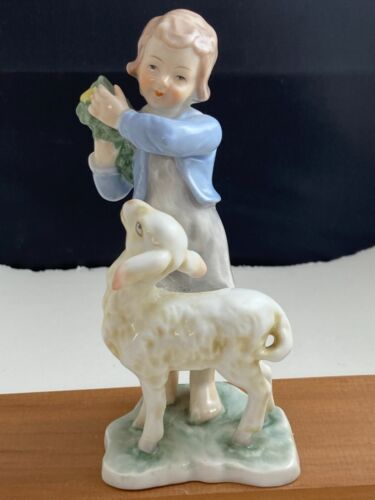 Vintage Blue Danube girl with lamb figurine Lipper and Mann