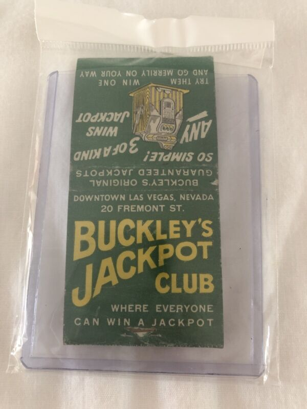 Vintage Las Vegas Matchbook Buckley's Jackpot Club Unstruck