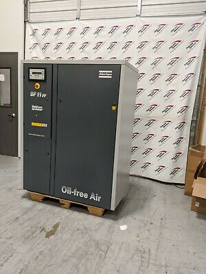 Used Atlas Copco 15 Hp Oil-less Scroll Air Compressor 460 Volt Low Hours