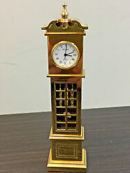 Vintage Bulova Quartz Gold Tone Tall Grandfather Table Shelf Clock