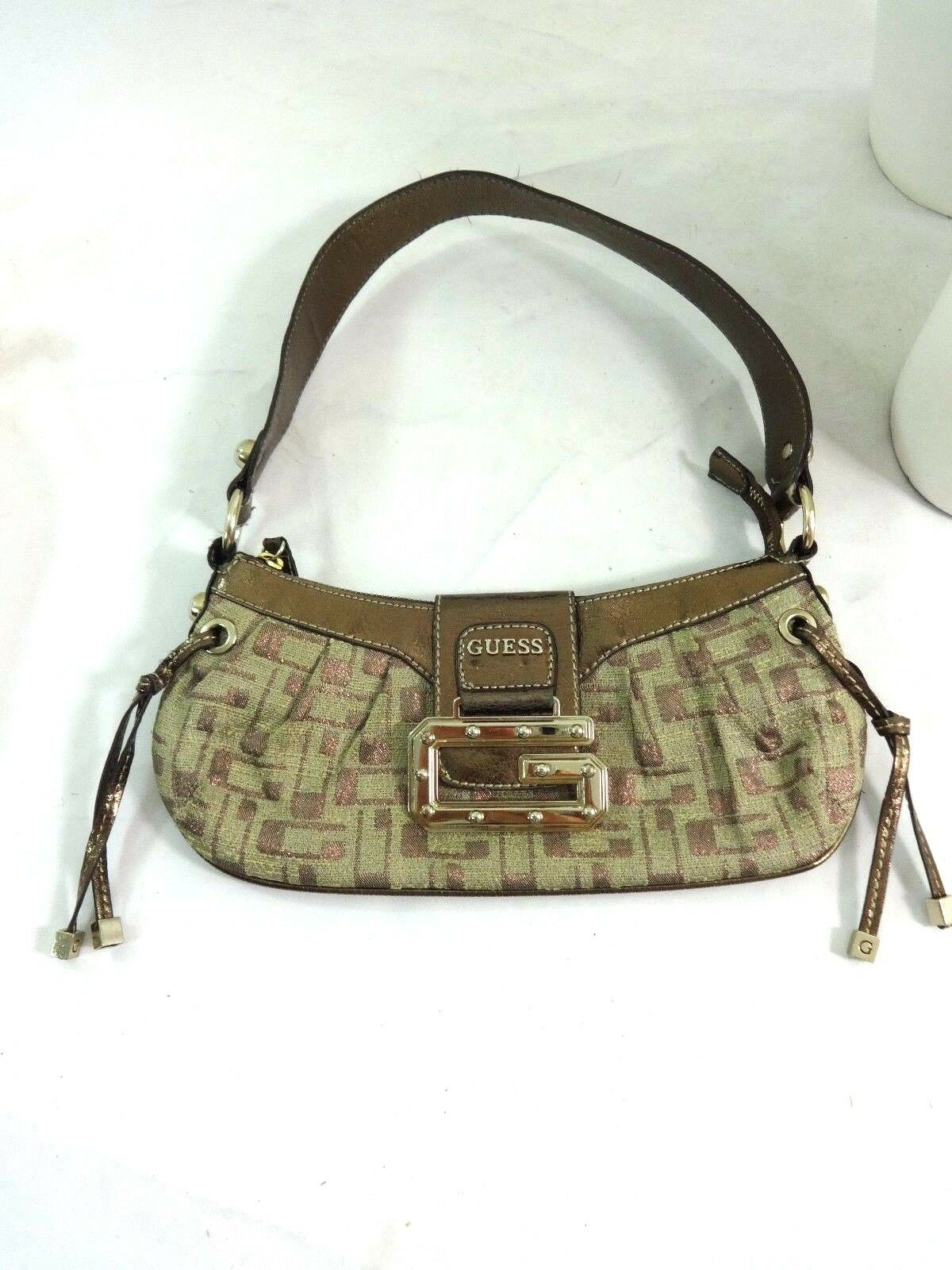 d599a632f7b9 Details about GUESS SMALL BROWN   BRONZE HAND BAG SHOULDER STRAP PURSE VERY  CUTE!!