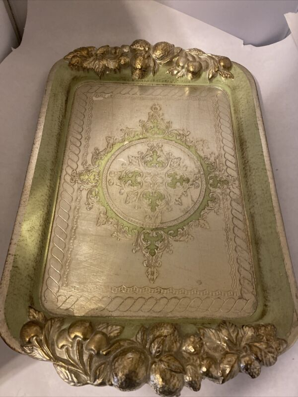 Florentine Italian Gold Gilt Wood Tray Platter Floral Fruit Relief Handl