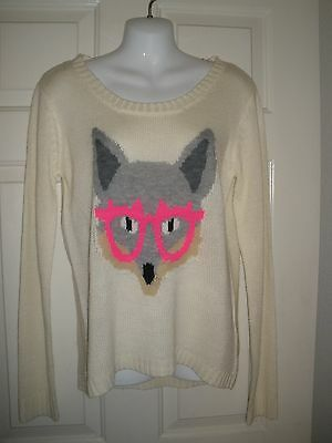 96fc436d4e3  502 Juniors Sweater L Silver Foxy Cream Vanilla Hot Pink Glass LS