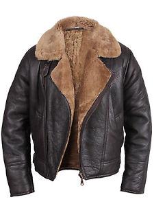 Men's Aviator Ginger Brown Real Shearling Sheepskin Leather Bomber Flying Jacket