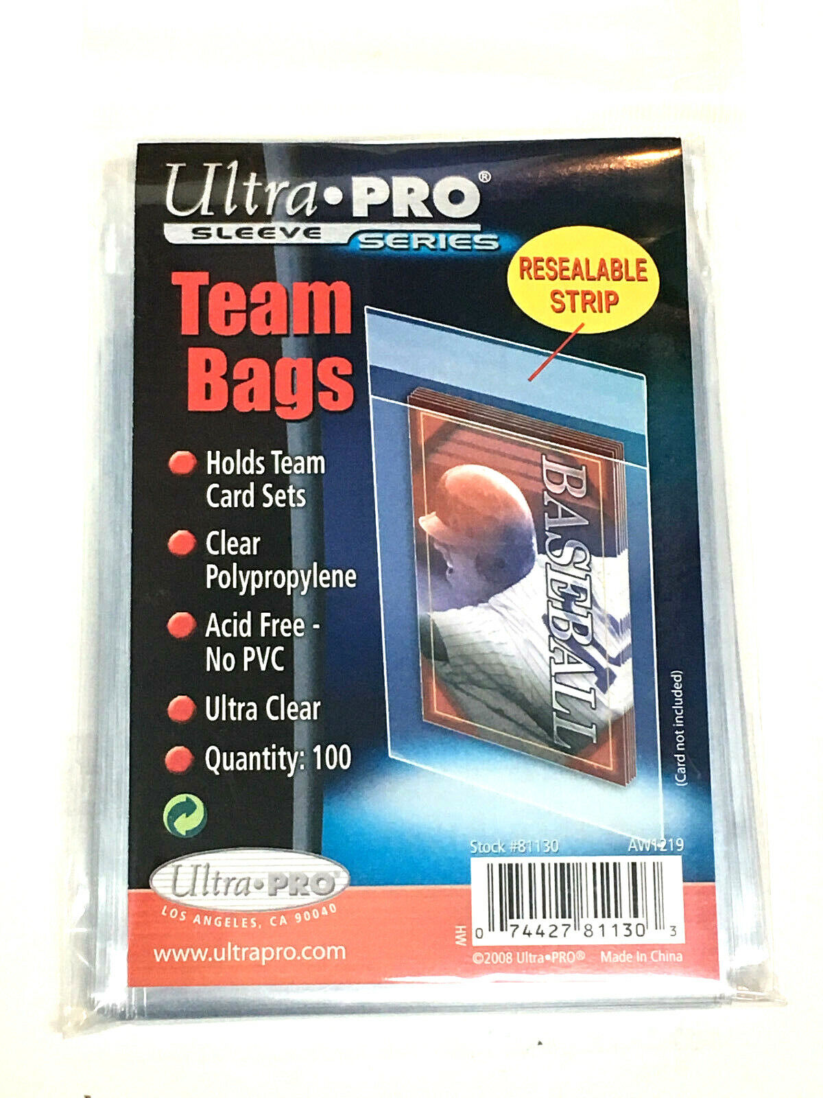 100 Ultra Pro TEAM SET BAGS Resealable Strip Trading Card Baseball UV 1 Pack-NEW